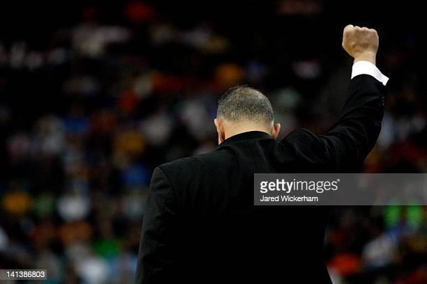 Head coach Frank Martin of the Kansas State Wildcats reacts against the Southern Miss Golden Eagles during the second round of the 2012 NCAA Men's...