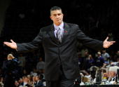 Head coach Frank Martin of the Kansas State Wildcats reacts to a call in the second half of a game against the Xavier Musketeers on December 8 2009...