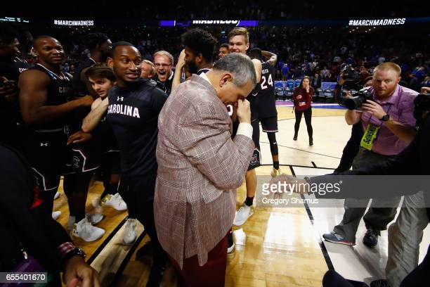 Head coach Frank Martin of the South Carolina Gamecocks reacts after defeating the Duke Blue Devils 8881 in the second round of the 2017 NCAA Men's...