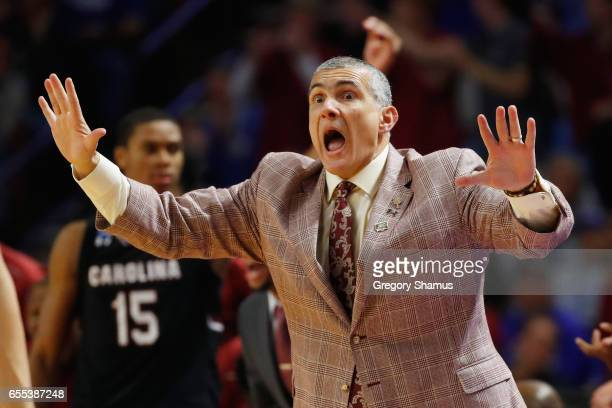 Head coach Frank Martin of the South Carolina Gamecocks reacts in the second half against the Duke Blue Devils during the second round of the 2017...