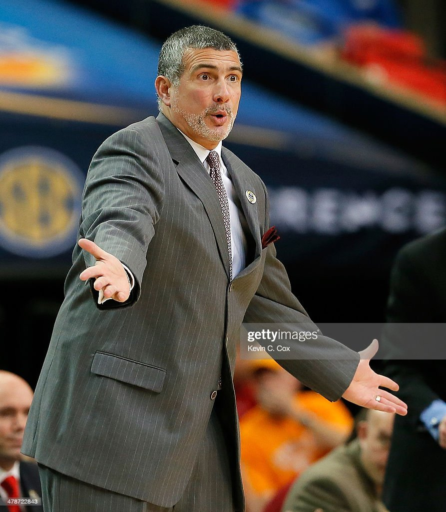 Head coach Frank Martin of the South Carolina Gamecocks reacts against the Tennessee Volunteers during the quarterfinals of the SEC Men's Basketball Tournament at Georgia Dome on March 14, 2014 in Atlanta, Georgia.