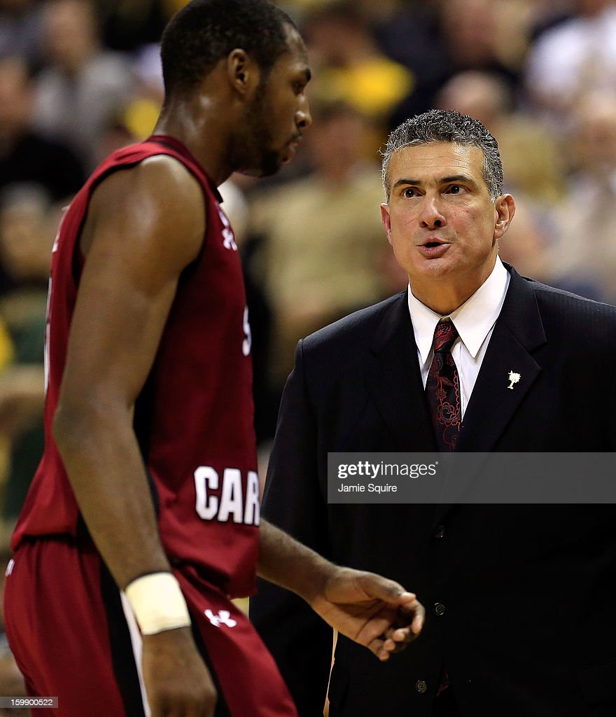 Head coach Frank Martin of the South Carolina Gamecocks yells at RJ Slawson #33 as he exits the game during the game against the Missouri Tigers at Mizzou Arena on January 22, 2013 in Columbia, Missouri.