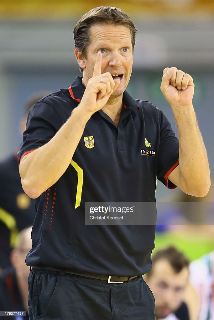 Head coach Frank Menz of Gemany issues instructions during the FIBA European Championships 2013 first round group A match between Germany and Belgium at Tivoli Arena on September 5, 2013 in Ljubljana, Slovenia.