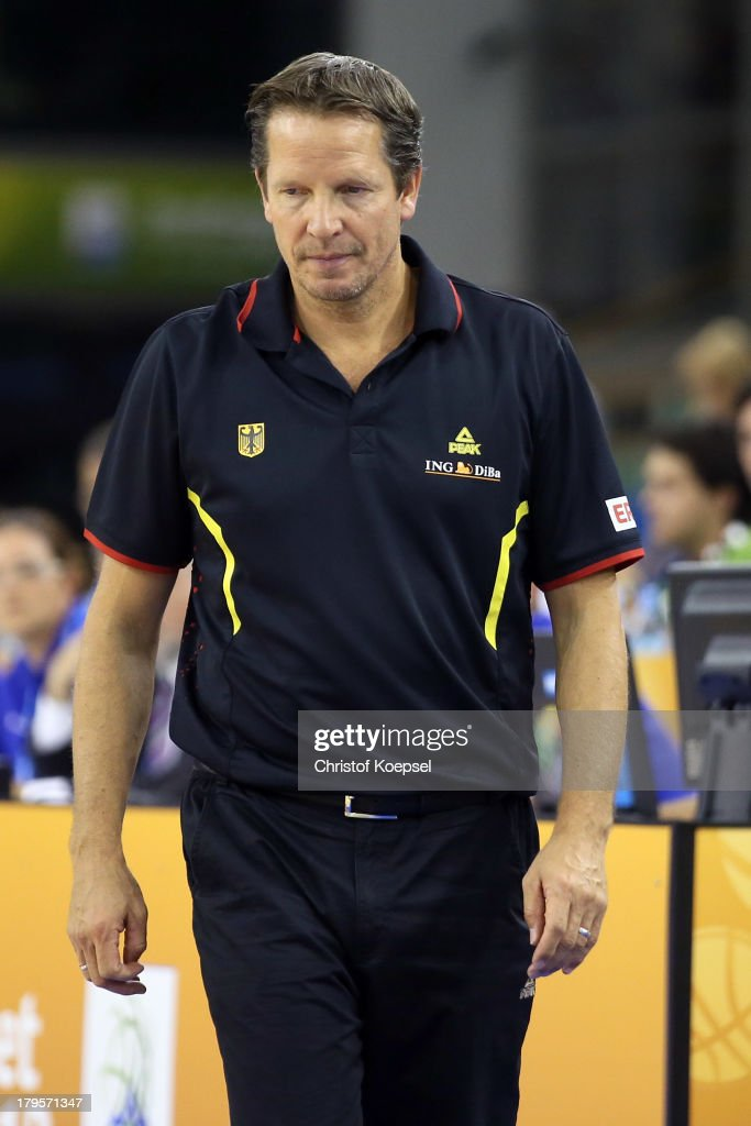 Head coach Frank Menz of Gemany looks thoughtful during the FIBA European Championships 2013 first round group A match between Germany and Belgium at Tivoli Arena on September 5, 2013 in Ljubljana, Slovenia.