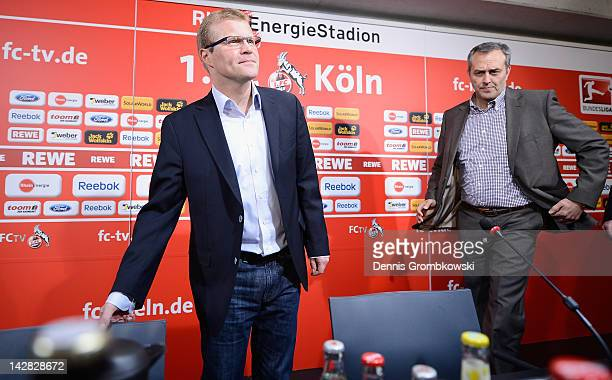 Head coach Frank Schaefer of Cologne and CEO Claus Horstmann attend a 1 FC Koeln press conference at RheinEnergie stadium on April 13 2012 in Cologne...