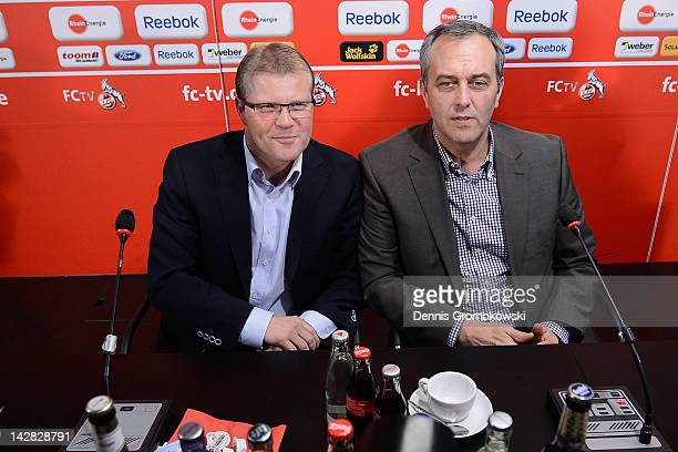 Head coach Frank Schaefer of Cologne and CEO Claus Horstmann pose during a 1 FC Koeln press conference at RheinEnergie stadium on April 13 2012 in...
