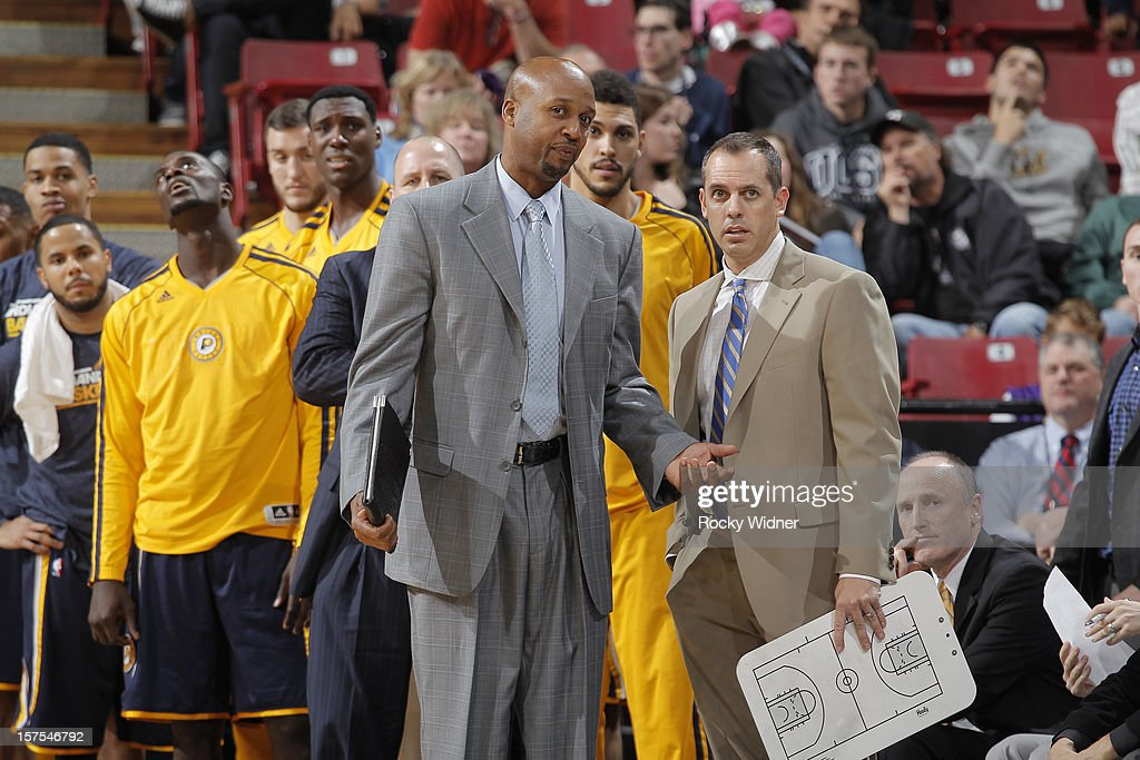 Head coach Frank Vogel and assistant coach Brian Shaw of the Indiana Pacers in a game against the Sacramento Kings on November 30, 2012 at Sleep Train Arena in Sacramento, California.