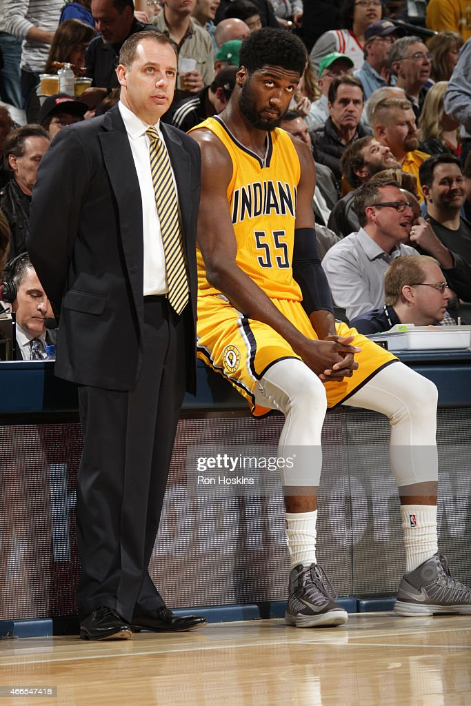 Head coach Frank Vogel and Roy Hibbert of the Indiana Pacers during the game against the Toronto Raptors on March 16 2015 at Bankers Life Fieldhouse...