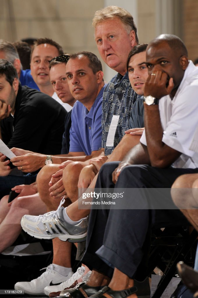 Head Coach Frank Vogel and Team President Larry Bird takes in the game of the Indiana Pacers against the Boston Celtics during the 2013 Southwest Airlines Orlando Pro Summer League on July 9, 2013 at Amway Center in Orlando, Florida.