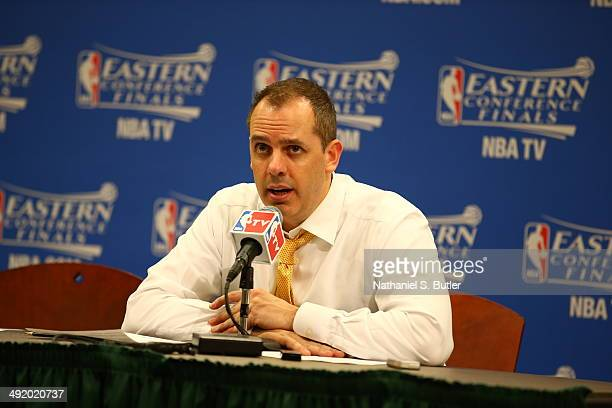 Head Coach Frank Vogel of the Indiana Pacers addresses the media after the game against the Miami Heat in game one of the East Conference Finals at...