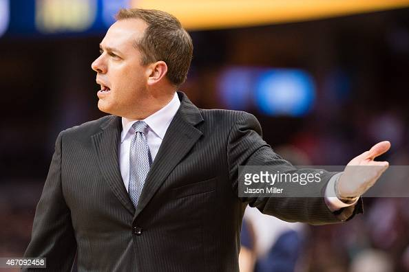 Head coach Frank Vogel of the Indiana Pacers argues a call during the first half against the Cleveland Cavaliers at Quicken Loans Arena on March 20...