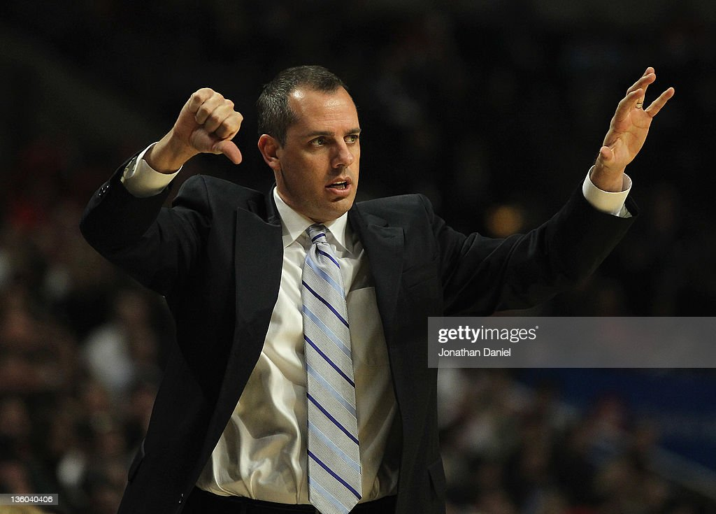 Head coach Frank Vogel of the Indiana Pacers calls a play during a preseason game against the Chicago Bulls at the United Center on December 20, 2011 in Chicago, Illinois. The Bulls defeated the Pacers 93-85.
