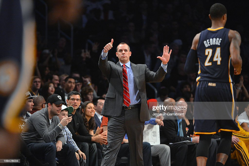 Head Coach Frank Vogel of the Indiana Pacers calls out a play during the game against the Brooklyn Nets at the Barclays Center on January 13, 2013 in Brooklyn, New York.