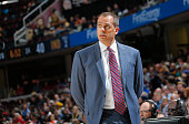 Head Coach Frank Vogel of the Indiana Pacers coaches against the Cleveland Cavaliers on October 15 2015 at Quicken Loans Arena in Cleveland Ohio NOTE...