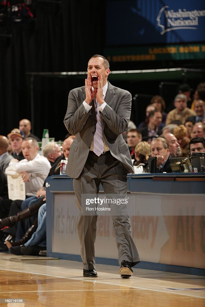 Head Coach Frank Vogel of the Indiana Pacers directs during the game between the Indiana Pacers and the Chicago Bulls on February 4, 2013 at Bankers Life Fieldhouse in Indianapolis, Indiana.
