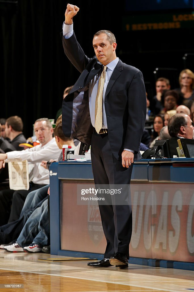 Head Coach Frank Vogel of the Indiana Pacers directs his team against the Houston Rockets on January 18, 2013 at Bankers Life Fieldhouse in Indianapolis, Indiana.