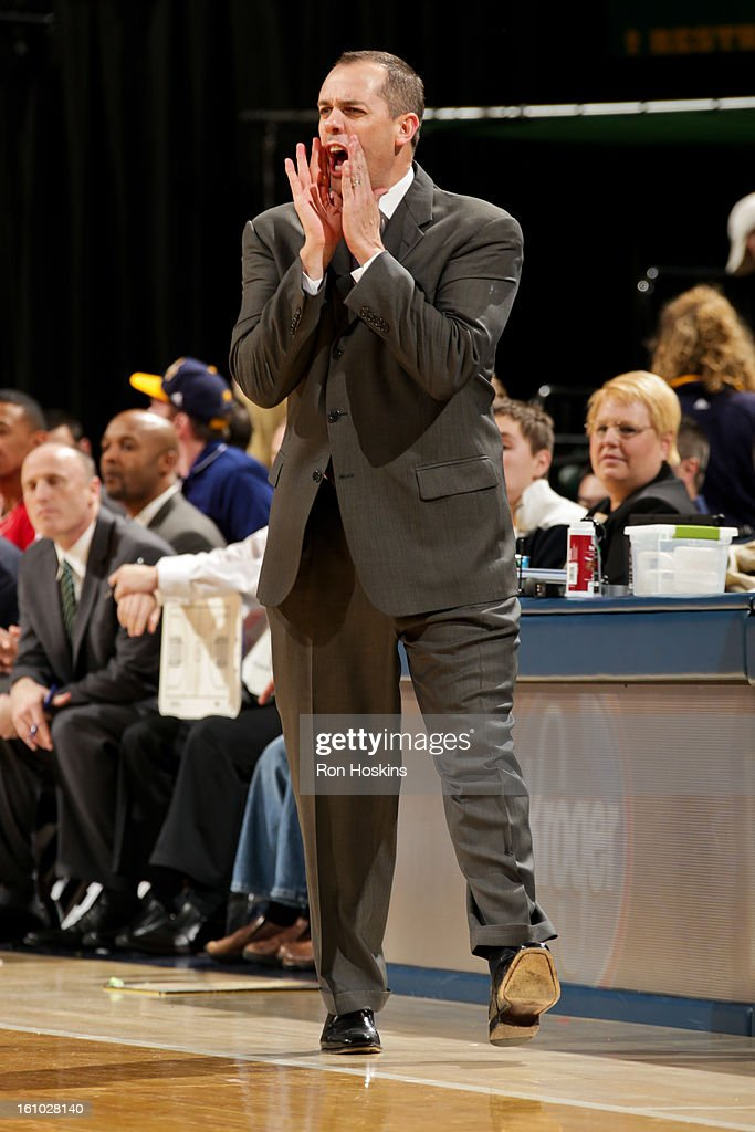 Head Coach Frank Vogel of the Indiana Pacers directs his team against the Toronto Raptors on February 8, 2013 at Bankers Life Fieldhouse in Indianapolis, Indiana.