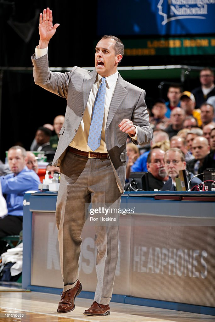Head Coach Frank Vogel of the Indiana Pacers directs his team against the Brooklyn Nets on February 11, 2013 at Bankers Life Fieldhouse in Indianapolis, Indiana.