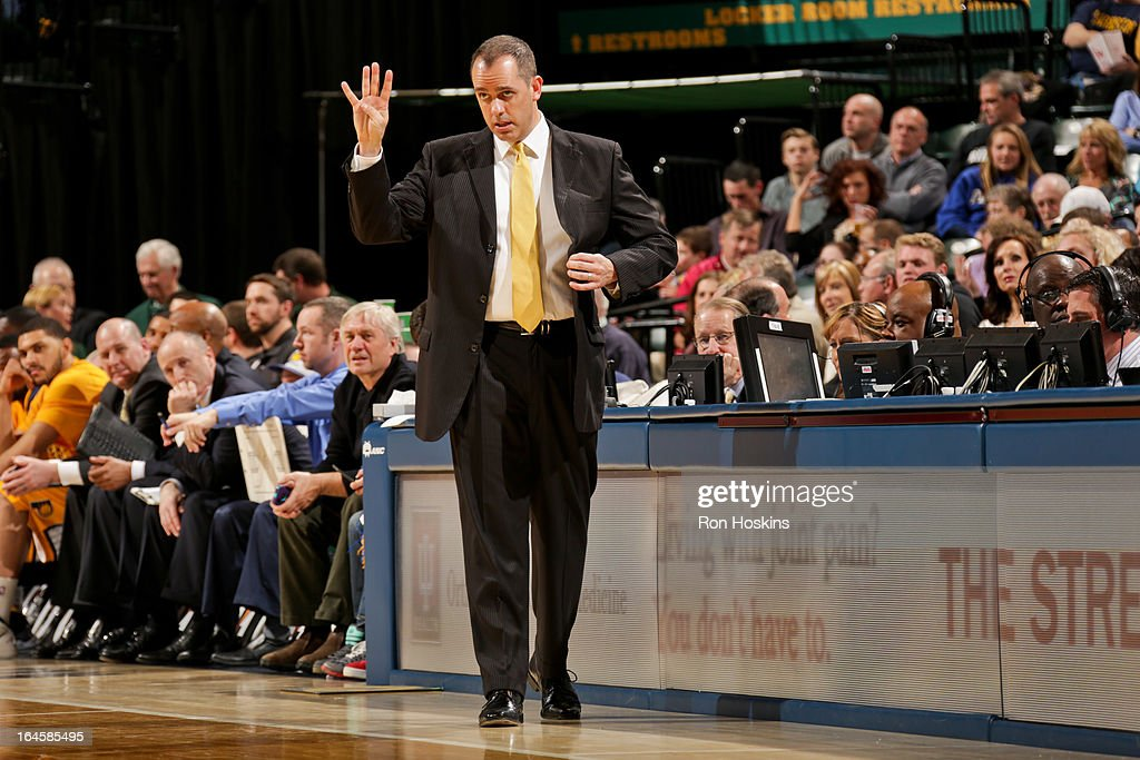 Head Coach Frank Vogel of the Indiana Pacers directs his team against the Milwaukee Bucks on March 22, 2013 at Bankers Life Fieldhouse in Indianapolis, Indiana.