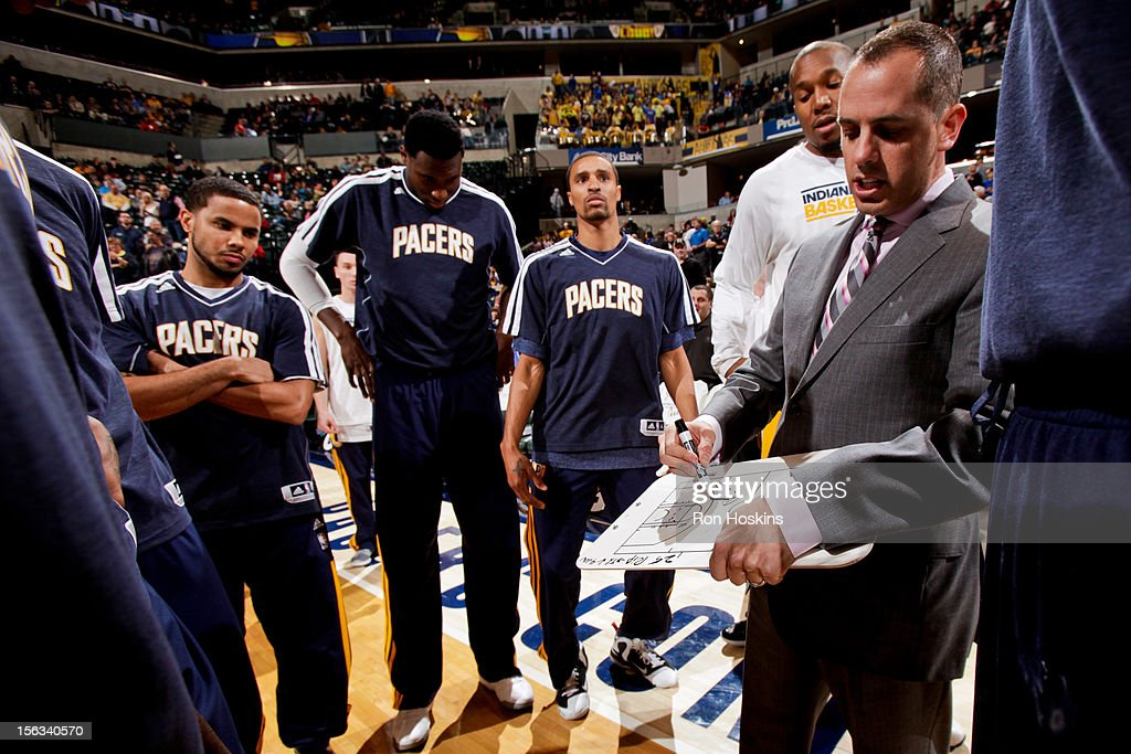 Head Coach Frank Vogel of the Indiana Pacers draws up plays for his team before a game against the Toronto Raptors on November 13, 2012 at Bankers Life Fieldhouse in Indianapolis, Indiana.