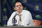 Head coach Frank Vogel of the Indiana Pacers during a press conference after the game against the Toronto Raptors on March 16 2015 at Bankers Life...