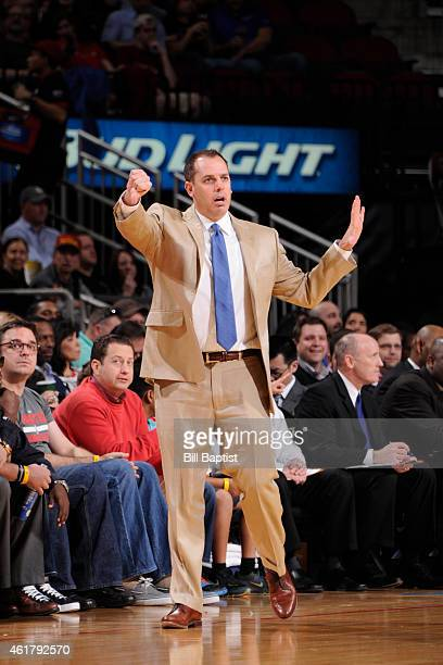 Head coach Frank Vogel of the Indiana Pacers during the game against the Houston Rockets on January 19 2015 at the Toyota Center in Houston Texas...