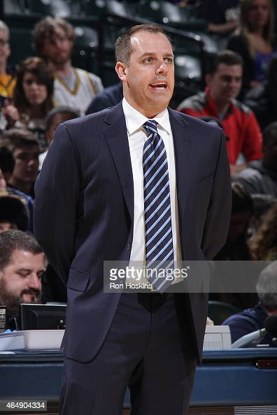 Head coach Frank Vogel of the Indiana Pacers during the game against the Philadelphia 76ers on March 1 2015 at Bankers Life Fieldhouse in...