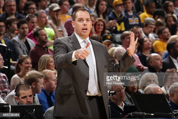 Head coach Frank Vogel of the Indiana Pacers during the game against the New York Knicks on March 4 2015 at Bankers Life Fieldhouse in Indianapolis...
