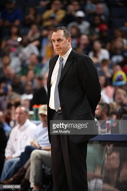 Head coach Frank Vogel of the Indiana Pacers during the game against the Memphis Grizzlies on April 15 2015 at FedExForum in Memphis Tennessee NOTE...