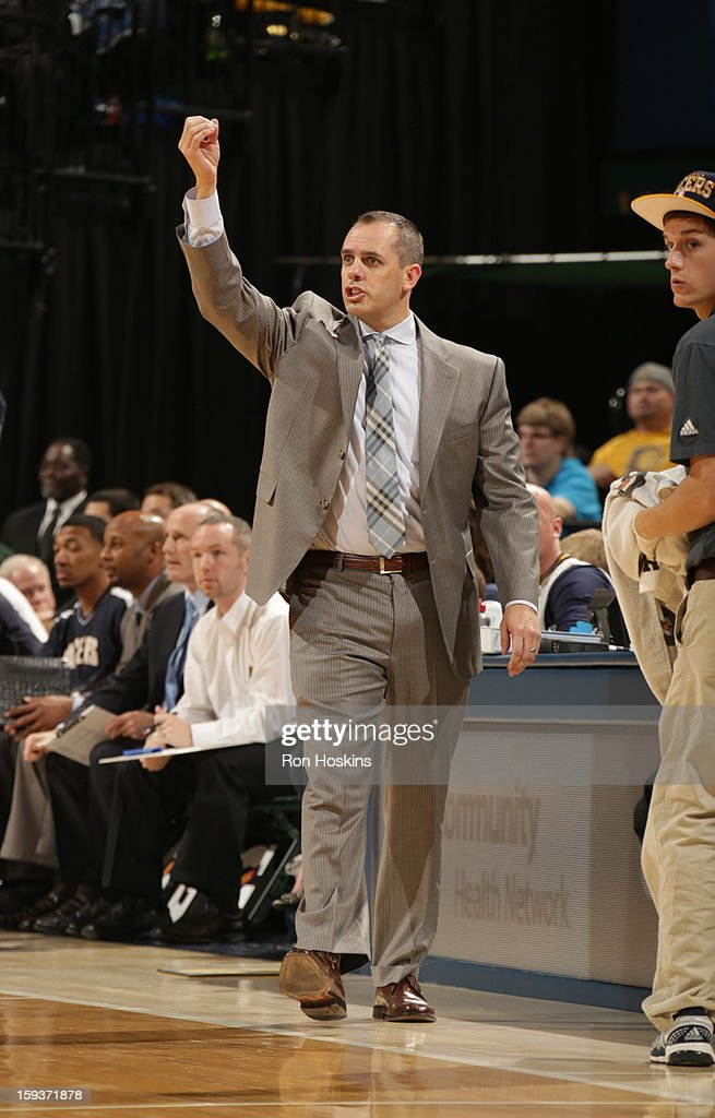 Head Coach Frank Vogel of the Indiana Pacers gestures during the game between the Indiana Pacers and the Charlotte Bobcats on January 12, 2013 at Bankers Life Fieldhouse in Indianapolis, Indiana.