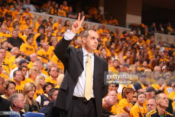 Head Coach Frank Vogel of the Indiana Pacers gestures during the Game Six of the Eastern Conference Semifinals between the New York Knicks and the...