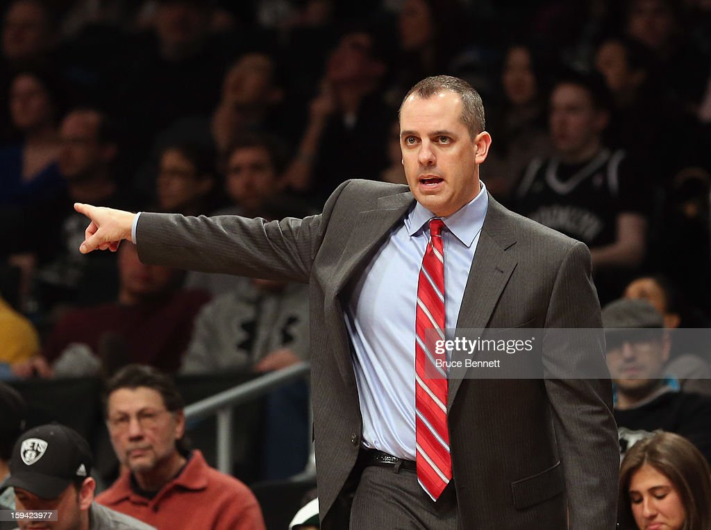 Head coach Frank Vogel of the Indiana Pacers handles bench duties against the Brooklyn Nets at the Barclays Center on January 13, 2013 in New York City.