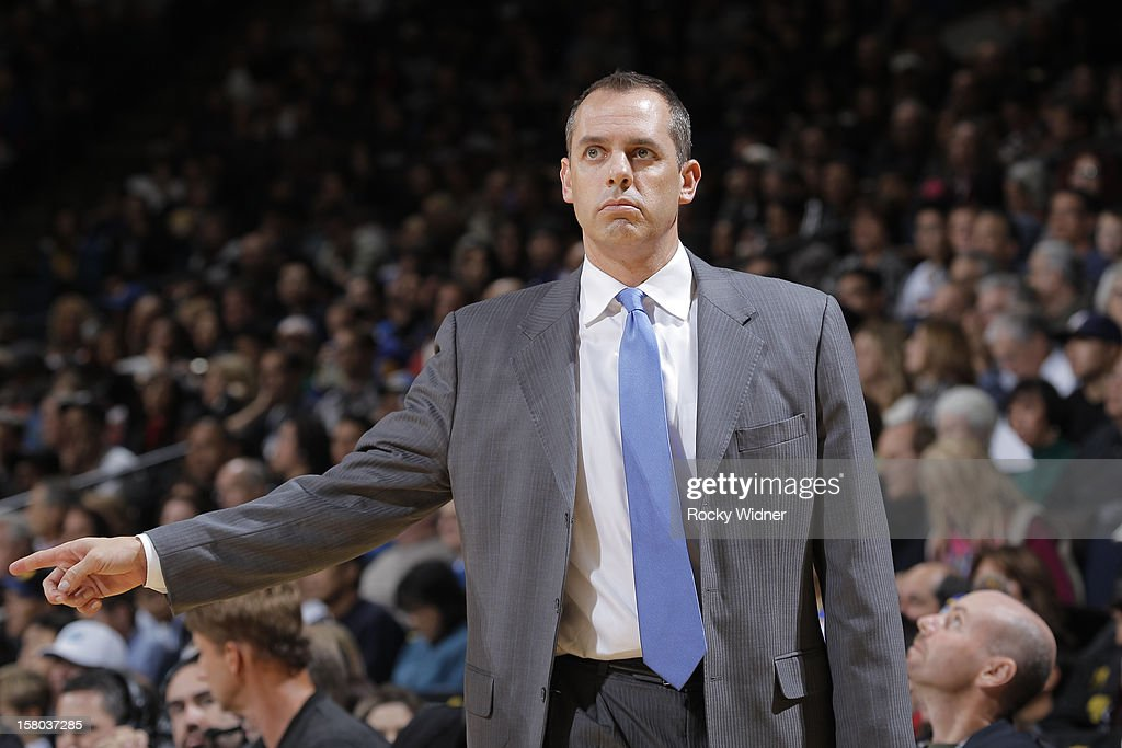 Head coach Frank Vogel of the Indiana Pacers in a game against the Golden State Warriors on December 1, 2012 at Oracle Arena in Oakland, California.