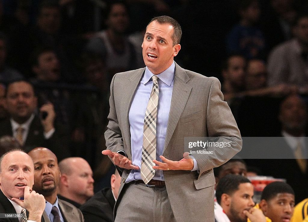 Head coach Frank Vogel of the Indiana Pacers in action against the New York Knicks at Madison Square Garden on November 18, 2012 in New York City. The Knicks defeated the Pacers 88-76.