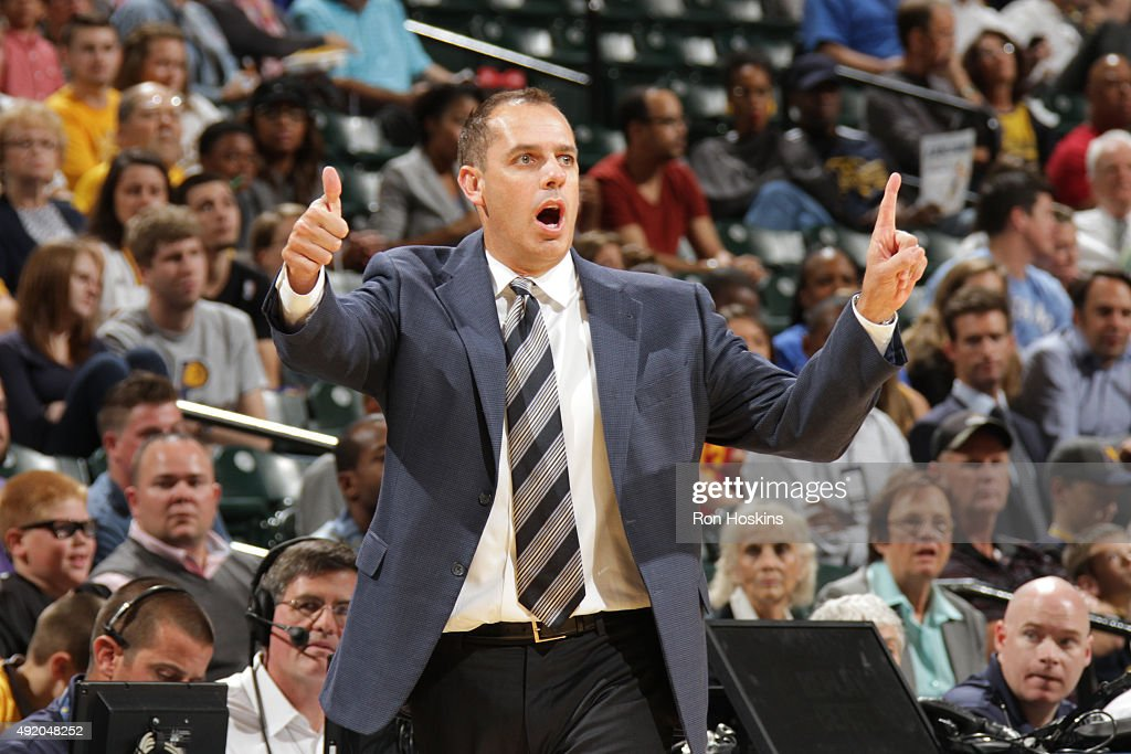 Head coach Frank Vogel of the Indiana Pacers looks on against the Orlando Magic during a preseason game on October 8 2015 at Bankers Life Fieldhouse...