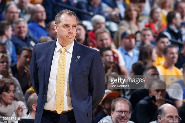 Head coach Frank Vogel of the Indiana Pacers looks on against the Cleveland Cavaliers in the first half of the game at Bankers Life Fieldhouse on...