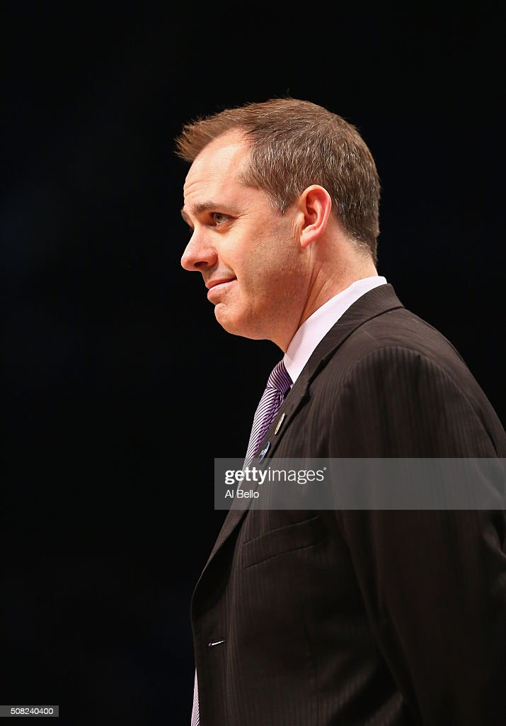 Head Coach <a gi-track='captionPersonalityLinkClicked' href=/galleries/search?phrase=Frank+Vogel+-+Basketball+Coach&family=editorial&specificpeople=10043336 ng-click='$event.stopPropagation()'>Frank Vogel</a> of the Indiana Pacers looks on against the Brooklyn Nets during their game at the Barclays Center on February 3, 2016 in New York City.