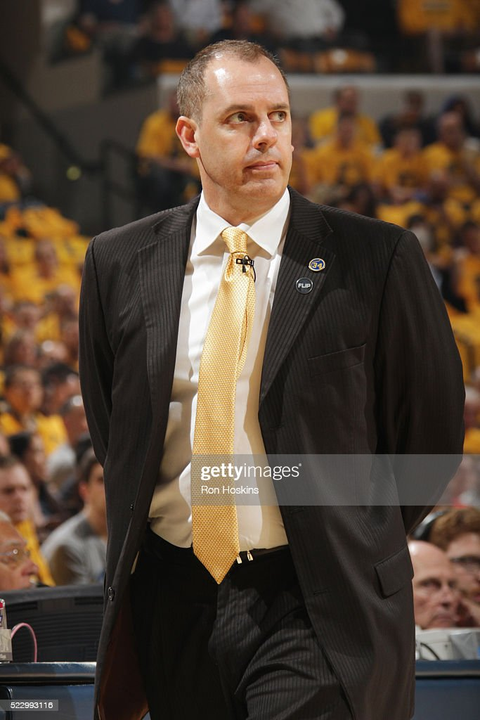 Head coach Frank Vogel of the Indiana Pacers looks on against the Toronto Raptors in Game Three of the Eastern Conference Quarterfinals during the...