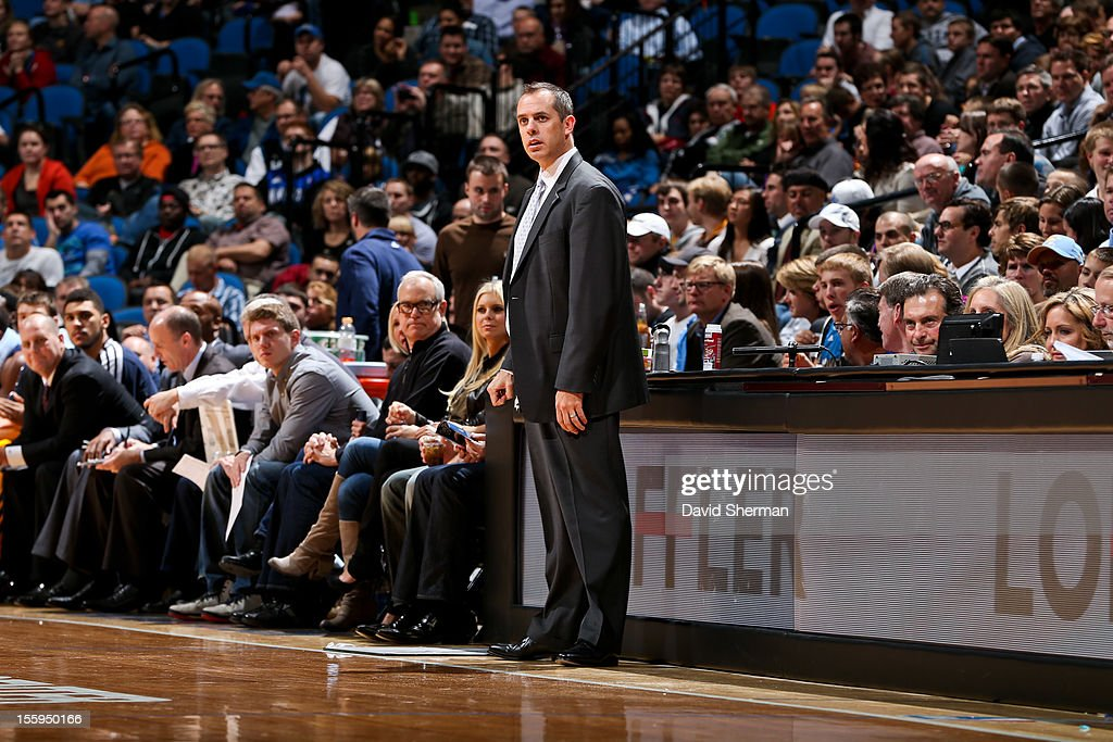 Head Coach Frank Vogel of the Indiana Pacers looks on as his team plays the Minnesota Timberwolves on November 9, 2012 at Target Center in Minneapolis, Minnesota.