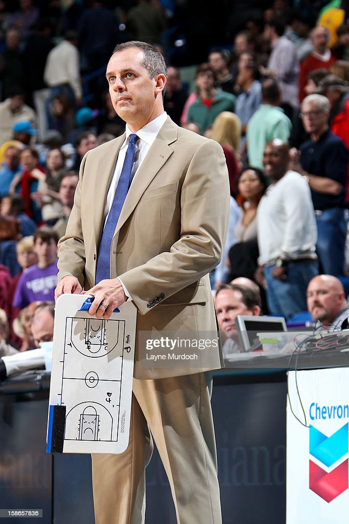 Head Coach Frank Vogel of the Indiana Pacers looks on as his team plays the New Orleans Hornets on December 22, 2012 at the New Orleans Arena in New Orleans, Louisiana.
