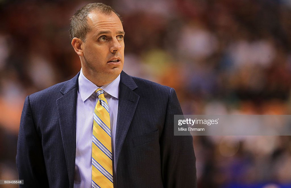 Head coach Frank Vogel of the Indiana Pacers looks on during a game against the Miami Heat at American Airlines Arena on January 4 2016 in Miami...