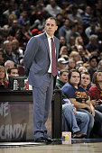 Head Coach Frank Vogel of the Indiana Pacers looks on during the game against the Cleveland Cavaliers on October 15 2015 at Quicken Loans Arena in...