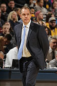 Head coach Frank Vogel of the Indiana Pacers looks on during the game against the Atlanta Hawks on January 28 2016 at Bankers Life Fieldhouse in...