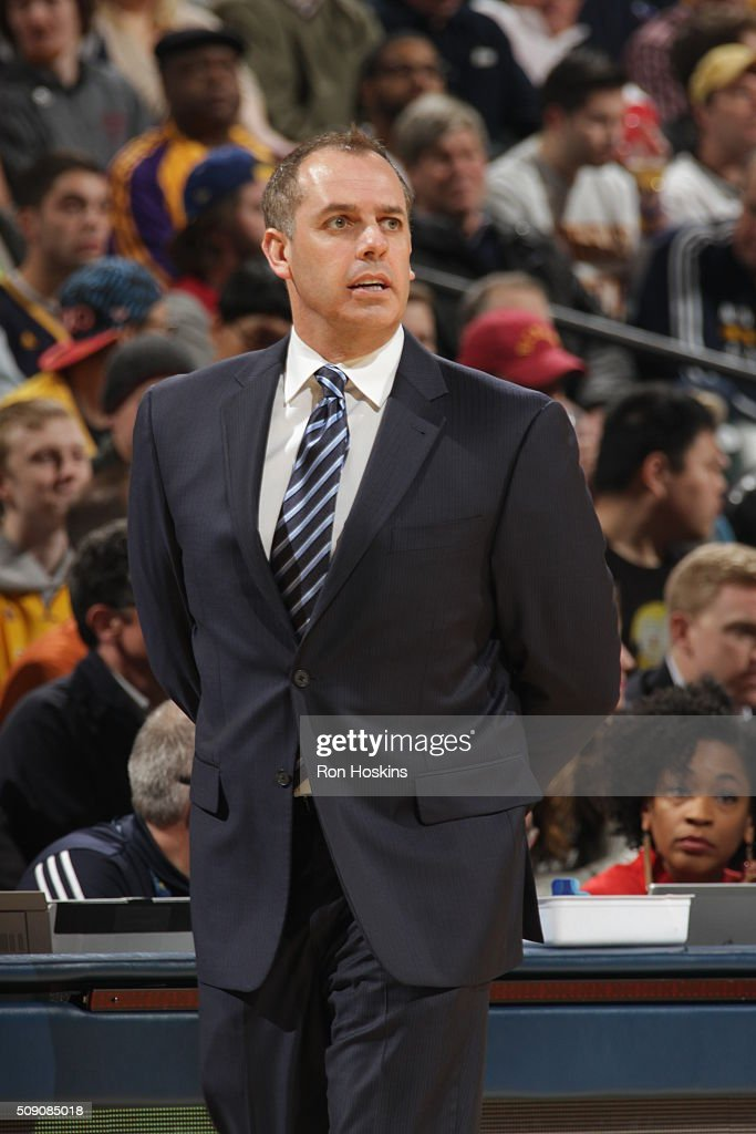 Head coach <a gi-track='captionPersonalityLinkClicked' href=/galleries/search?phrase=Frank+Vogel+-+Basketball+Coach&family=editorial&specificpeople=10043336 ng-click='$event.stopPropagation()'>Frank Vogel</a> of the Indiana Pacers looks on during the game against the Los Angeles Lakers on February 8, 2016 at Bankers Life Fieldhouse in Indianapolis, Indiana.
