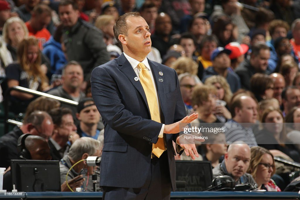 Head Coach Frank Vogel of the Indiana Pacers looks on during the game against the Oklahoma City Thunder on March 19 2016 at Bankers Life Fieldhouse...