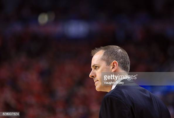 Head Coach Frank Vogel of the Indiana Pacers looks on in the first half of Game Seven of the Eastern Conference Quarterfinals against the Toronto...