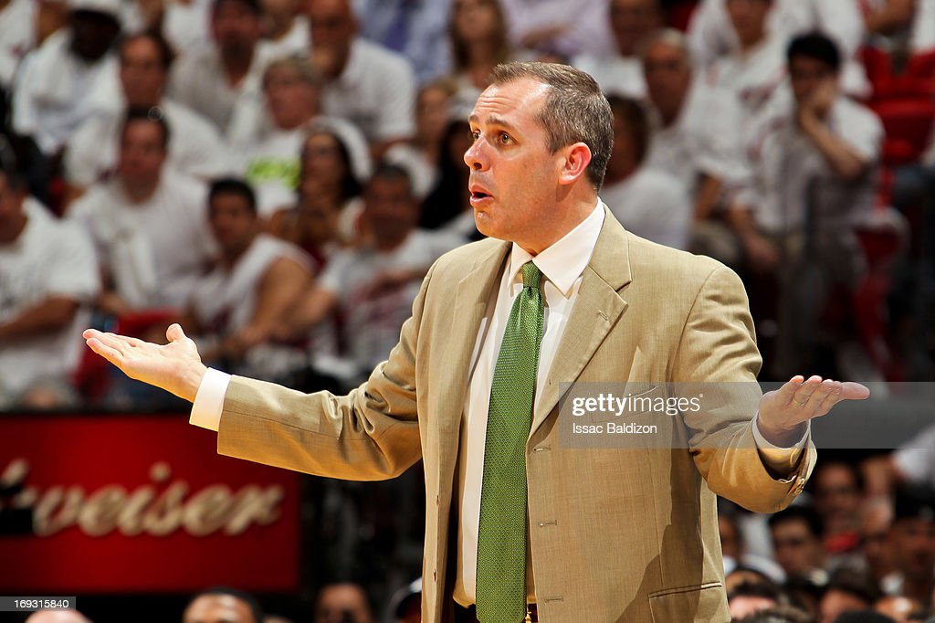 Head Coach Frank Vogel of the Indiana Pacers reacts as his team plays the Miami Heat in Game One of the Eastern Conference Finals during the 2013 NBA Playoffs on May 22, 2013 at American Airlines Arena in Miami, Florida.