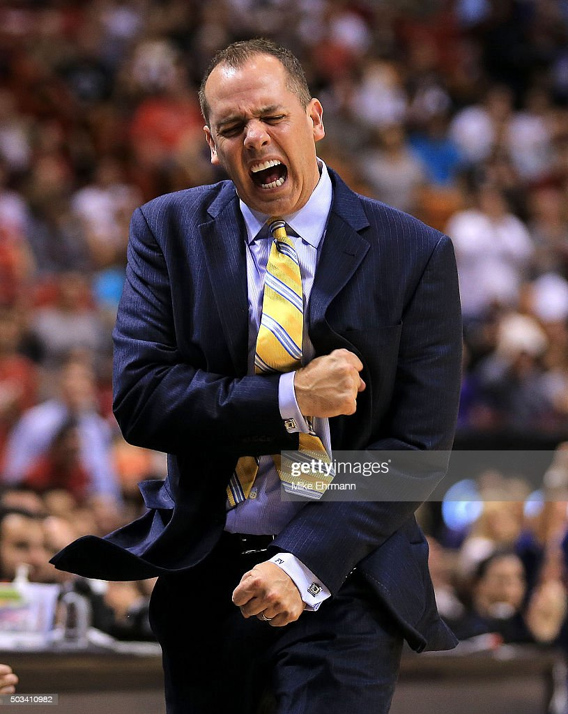 Head coach <a gi-track='captionPersonalityLinkClicked' href=/galleries/search?phrase=Frank+Vogel+-+Basketball+Coach&family=editorial&specificpeople=10043336 ng-click='$event.stopPropagation()'>Frank Vogel</a> of the Indiana Pacers reacts during a game against the Miami Heat at American Airlines Arena on January 4, 2016 in Miami, Florida.