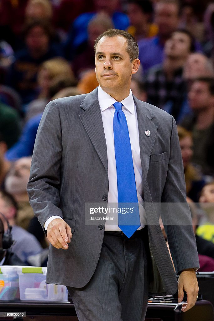 Head coach <a gi-track='captionPersonalityLinkClicked' href=/galleries/search?phrase=Frank+Vogel+-+Basketball+Coach&family=editorial&specificpeople=10043336 ng-click='$event.stopPropagation()'>Frank Vogel</a> of the Indiana Pacers reacts during the first half against the Cleveland Cavaliers at Quicken Loans Arena on November 8, 2015 in Cleveland, Ohio.