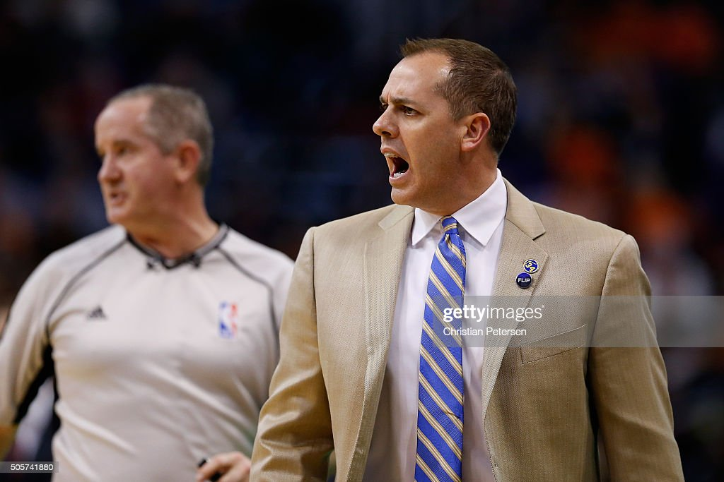Head coach <a gi-track='captionPersonalityLinkClicked' href=/galleries/search?phrase=Frank+Vogel+-+Basketball+Coach&family=editorial&specificpeople=10043336 ng-click='$event.stopPropagation()'>Frank Vogel</a> of the Indiana Pacers reacts during the first half of the NBA game against the Phoenix Suns at Talking Stick Resort Arena on January 19, 2016 in Phoenix, Arizona.